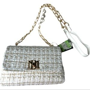Badgley Mischka White and Gold Vegan Leather Purse Textured Messenger Bag NWT